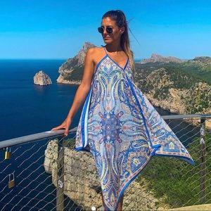 Zara assymetric hem blue printed paisley dress